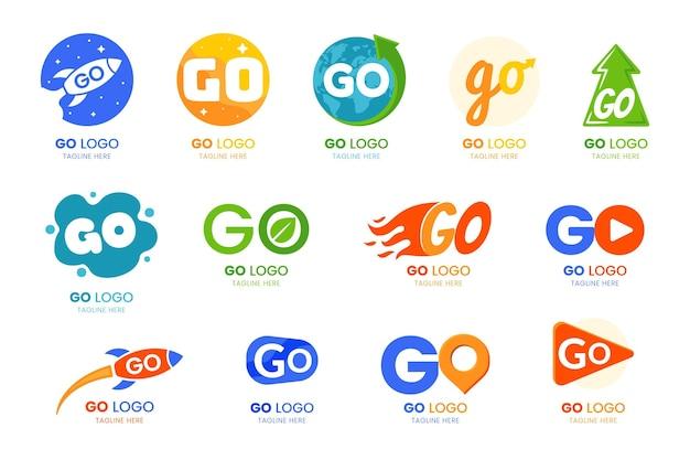 Colección de diseño plano go logo