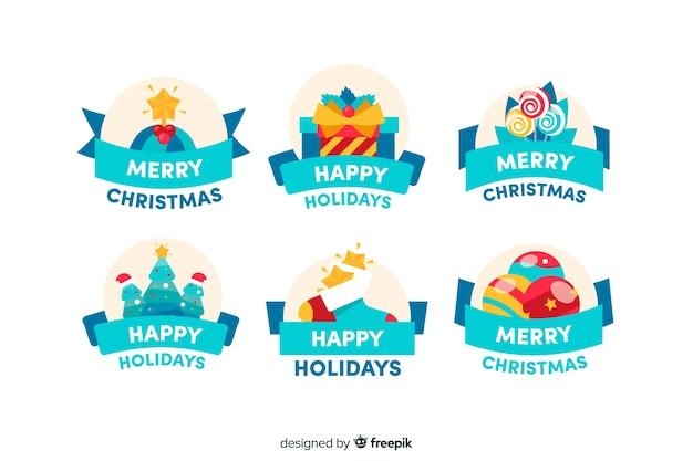 Colección de diseño plano de insignia de navidad