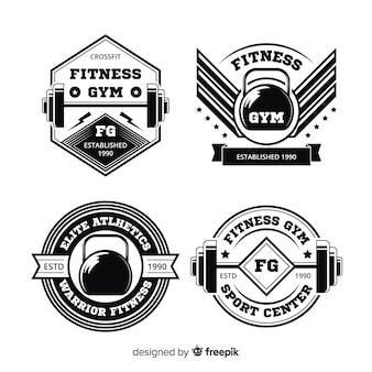 Colección de diseño plano del logotipo motivacional de crossfit