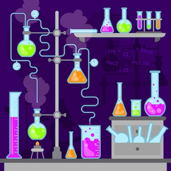 Colección de diseño plano de objetos de laboratorio de ciencias