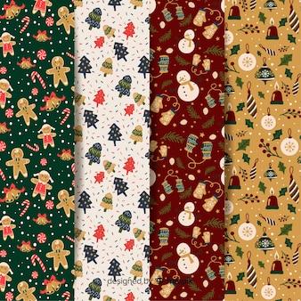 Colección de diseño plano de patrón de navidad