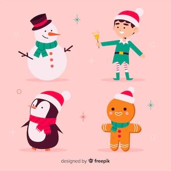 Colección de diseño plano personajes de navidad