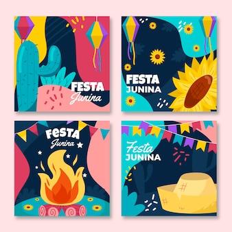 Colección de diseño plano de tarjetas festa junina