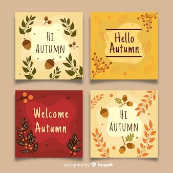 Colección de diseño plano de tarjetas de otoño