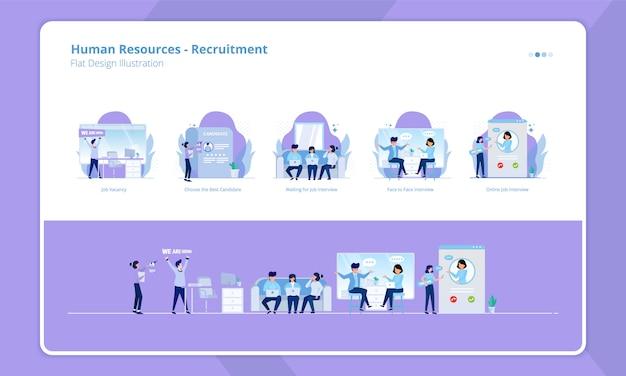 Colección de diseño plano del tema de recursos humanos, estamos contratando o reclutamiento abierto