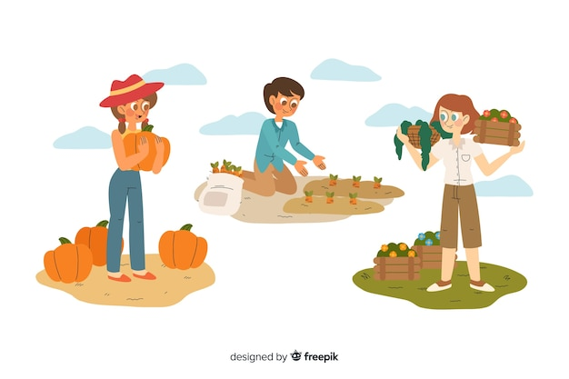 Colección de diseño plano de trabajadores agrícolas