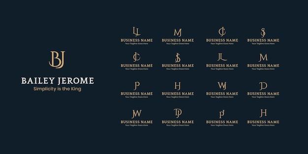 Colección de diseño de plantillas de logotipo de letra inicial, logotipos corporativos mínimos de dos iniciales