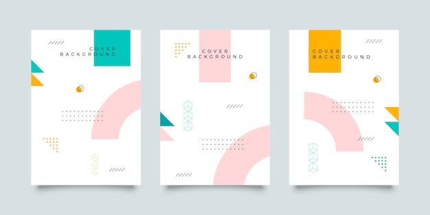 Colección de diseño de portada estilo memphis