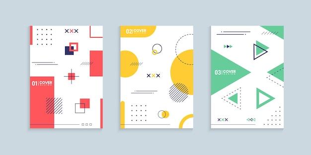 Colección de diseño de portada geométrica abstracta