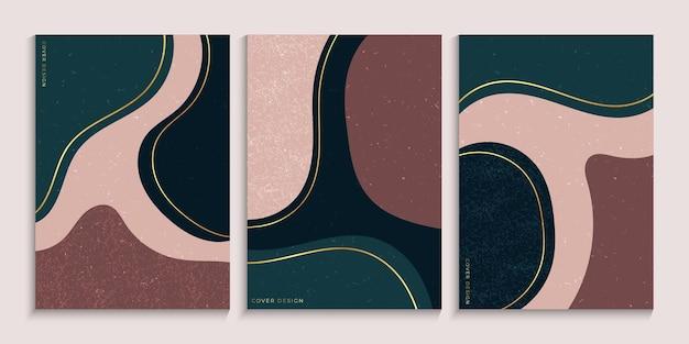 Colección de diseño de portadas a mano alzada con formas mínimas