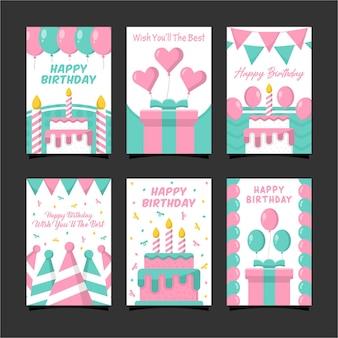 Colección de diseño de tarjetas de feliz cumpleaños