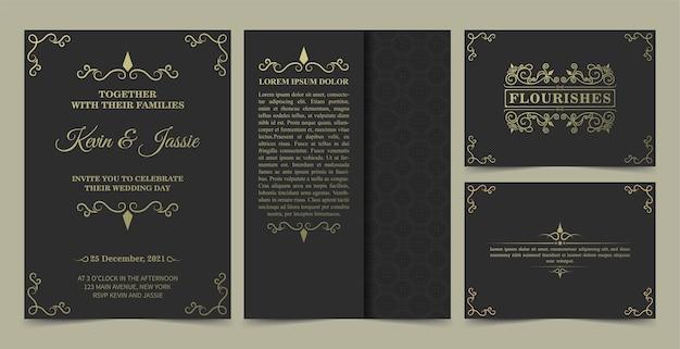 Colección diseño de tarjetas de invitación estilo vintage