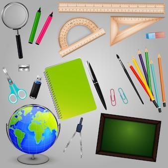 Colección de diseño de útiles escolares.
