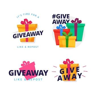 Colección del diseño del vector del ejemplo de la caja de regalo de la insignia del sorteo
