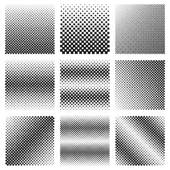Colección de diseño vectorial de texturas de semitono de píxeles. conjunto de fondos de cuadrados geométricos.