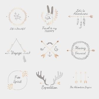 Colección de diseño de viajes dibujados a mano.