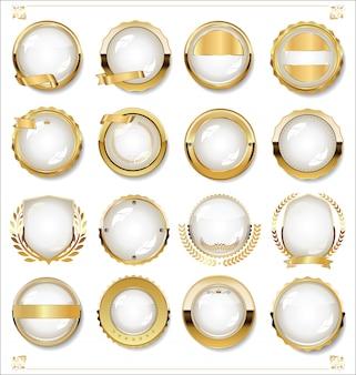 Colección de diseño vintage retro de etiquetas blancas vacías doradas