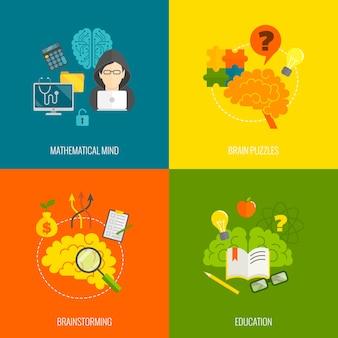 Colección de diseños cerebrales coloridos