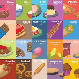 Colección de diseños de comida