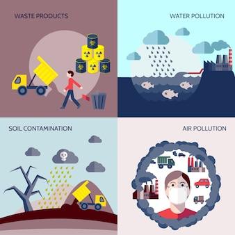 Colección de diseños de contaminación