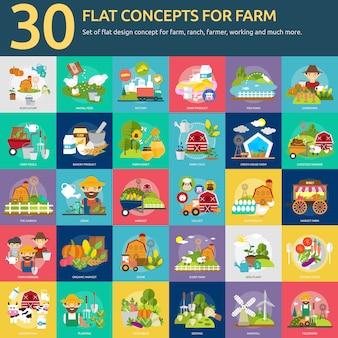 Colección de diseños de granja