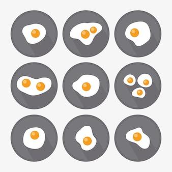 Colección de diseños de huevos fritoa