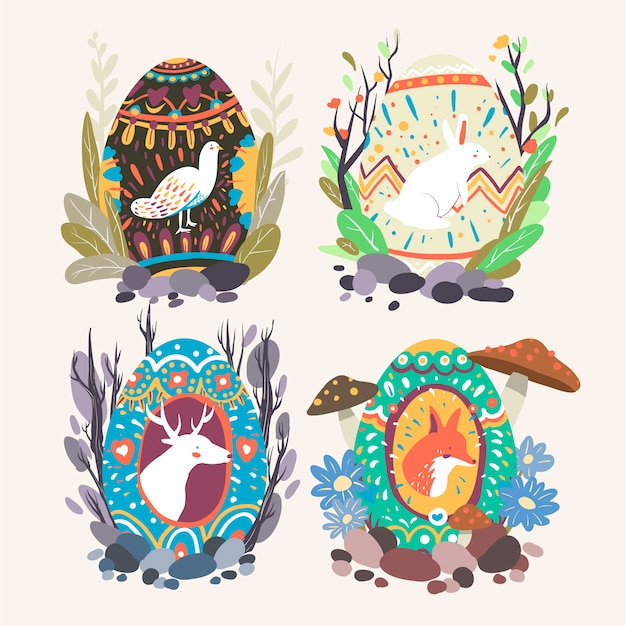 Colección de diseños de huevos de pascua