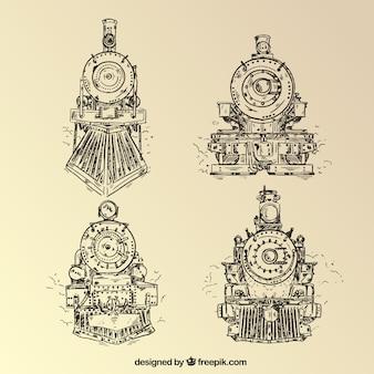 Colección de diseños de locomotora dibujado a mano