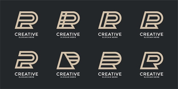 Colección de diseños de logotipos abstractos de letra r