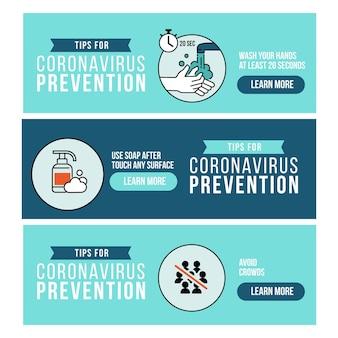 Colección de diseños de pancartas para la prevención del coronavirus