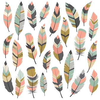 Colección de diseños de plumas