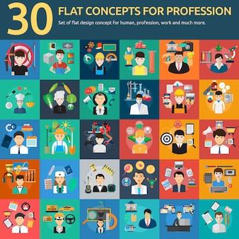 Colección de diseños de profesiones