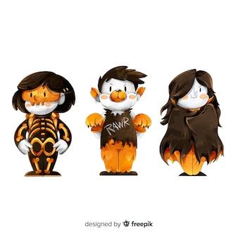 Colección de disfraces de acuarela para niños de halloween