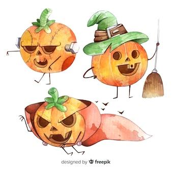 Colección de disfraces de calabaza de halloween de acuarela