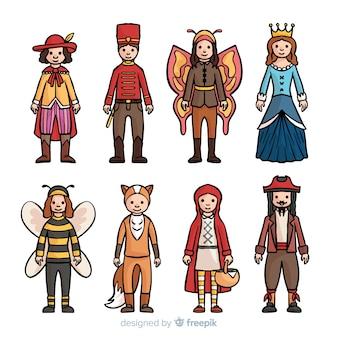 Colección disfraces carnaval dibujados a mano