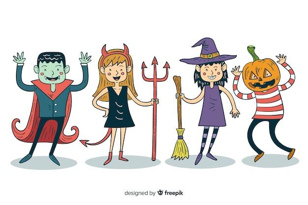 Colección de disfraces de halloween para niños dibujados a mano