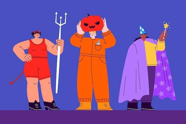 Colección disfraces de halloween planos dibujados a mano