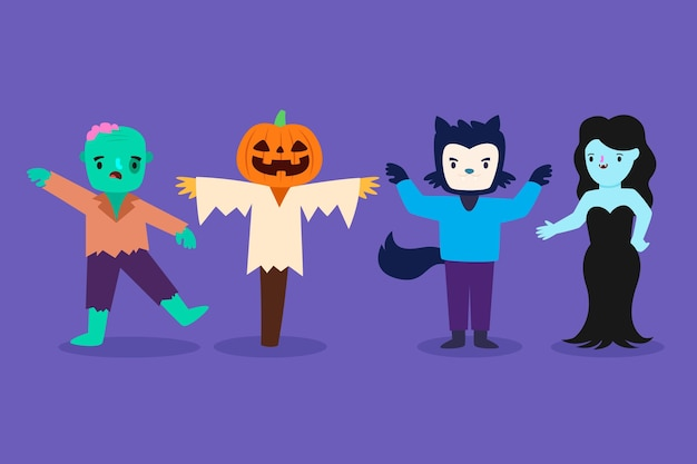 Colección de disfraces de personajes de halloween feliz