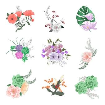 Colección de diversos ramos florales