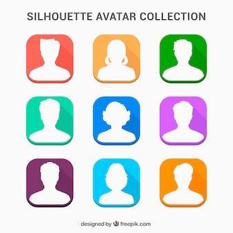 Colección divertida de avatares de siluetas