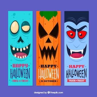 Colección divertida de banners de halloween