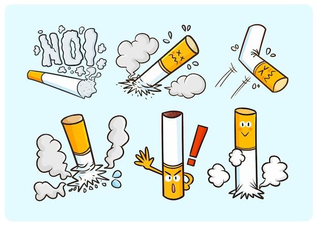 Colección divertida de cigarrillos sin fumar en estilo doodle