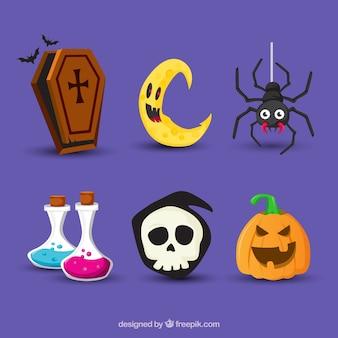 Colección divertida de elementos planos de halloween