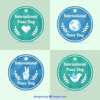 Colección divertida de etiquetas para la paz