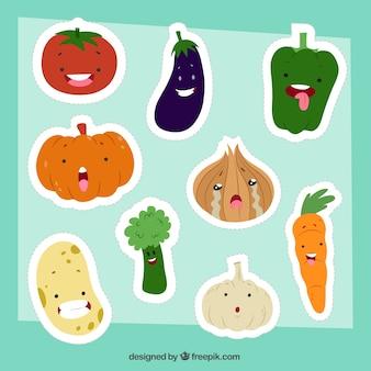 Colección divertida de pegatinas de comida sana