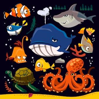 Colección divertida de vida marina con diferentes criaturas.