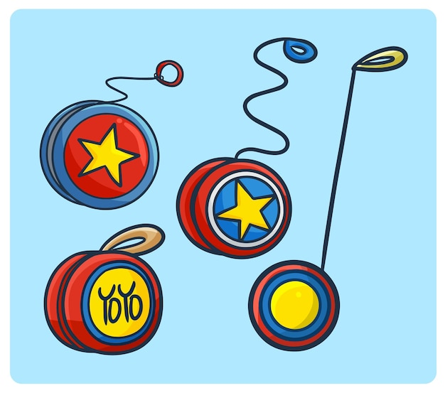 Colección divertida de yoyo en estilo simple doodle