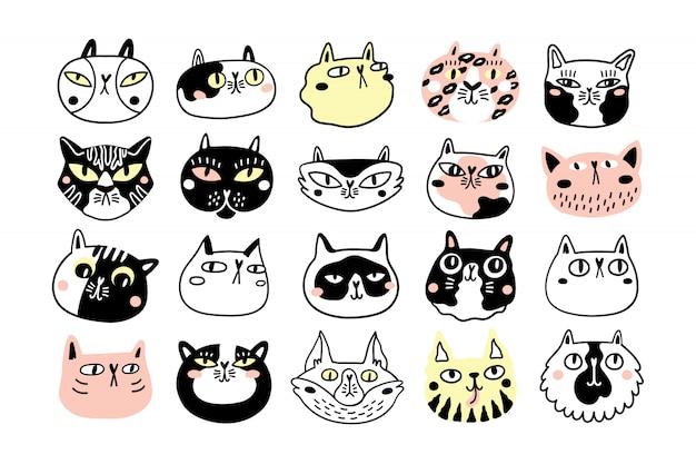 Colección de divertidas caras o cabezas de gato. paquete de varios bozales de gatos de dibujos animados aislados