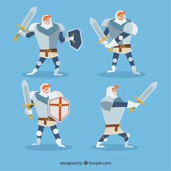 Colección de divertido personaje de guerrero