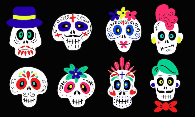 Colección de divertidos dibujos animados coloridos calaveras de diferentes tipos sobre fondo negro para halloween y ...